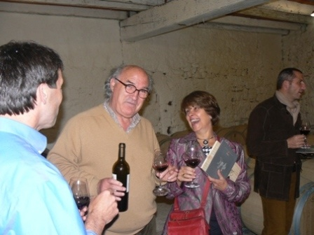 Michel Gracia and Wendy winetasting