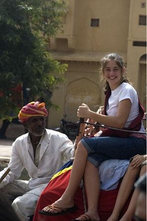 Sarah Riding an Elephant