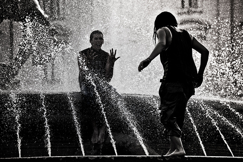 Playing at Fountain