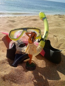 snorkel and hula girl