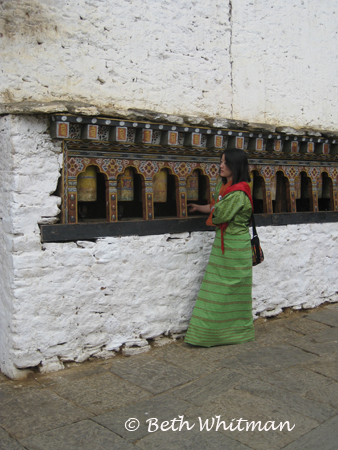 Kinley at Prayer Wheels in Bhutan
