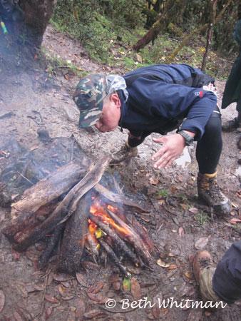 Eastern Bhutan trek - Making a fire