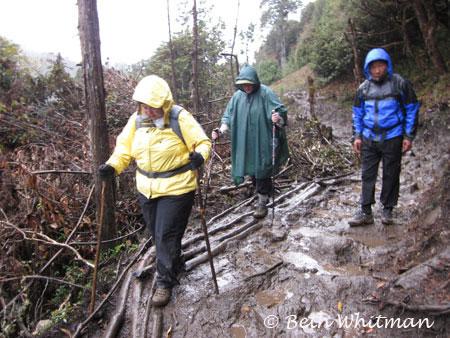 Eastern Bhutan trek - trekking through mud