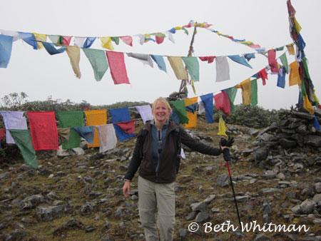 Beth Whitman at pass during Merak & Sakten trek in Eastern Bhutan