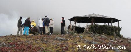 Lunch at the pass on Merak & Sakten trek in Eastern Bhutan