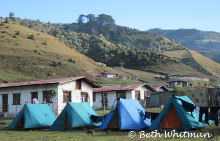 Eastern Bhutan Trek - tents in Sakten