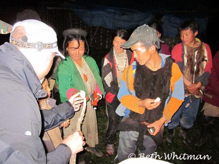Roasting marshmallows during Eastern Bhutan Trek