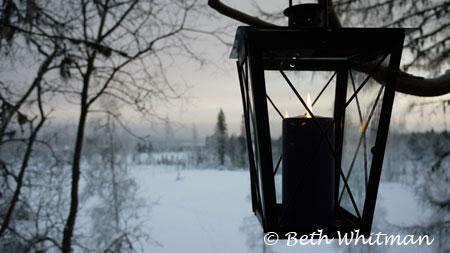 Lantern and snowy landscape - Hamar, Norway