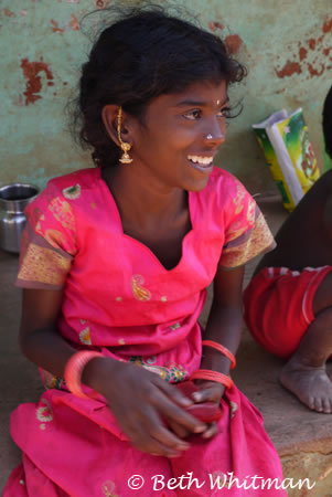 Indian Girl Laughing. This young girl was all dressed up for Pongal, ...