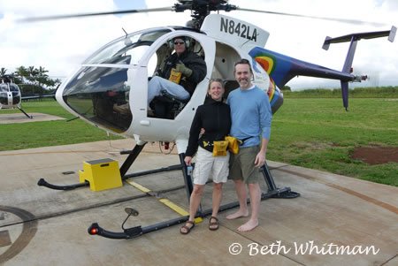 Beth Whitman and Jon with helicopter