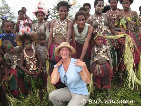 Beth with Villagers in Papua New Guinea