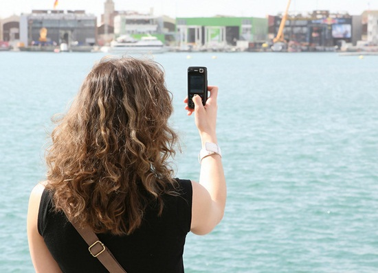 Woman Tourist Taking Photo With Mobile