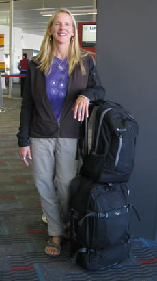 Beth Whitman at Airport with carry-on