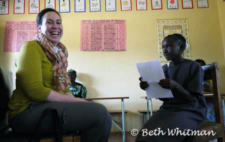 Debbie doing interview at Zambia library