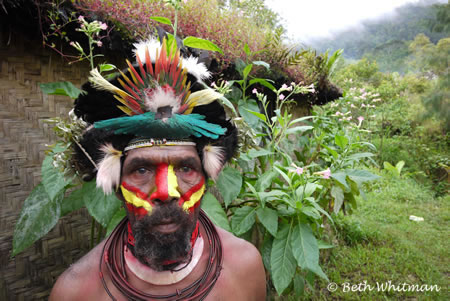 Huli Wigman at Hut in Tari, Papua New Guinea