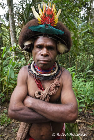 Huli Wigmen in Jungle, Tari, Papua New Guinea
