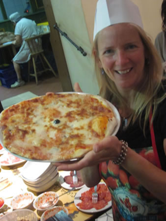 Beth with Pizza in Rome
