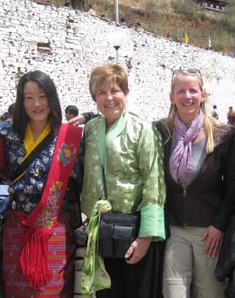 Kinley Diane and Beth in Bhutan