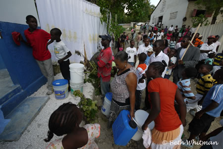 line for clean water in Haiti