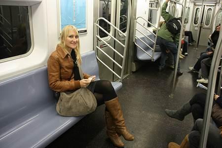 Woman on New York Subway