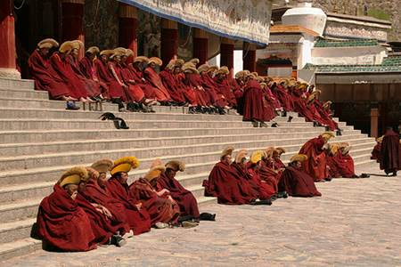 Monks at Labrang Lamasery