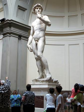 Tourists viewing David