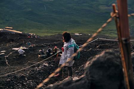 Woman Descending Mt Fuji