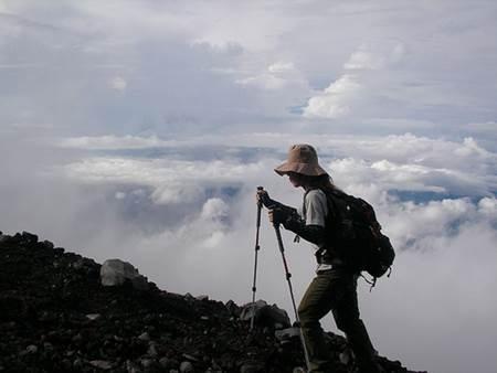 Woman on Mt Fuji