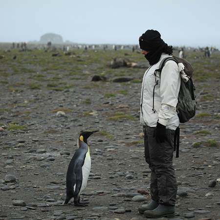 Woman with King Penguin