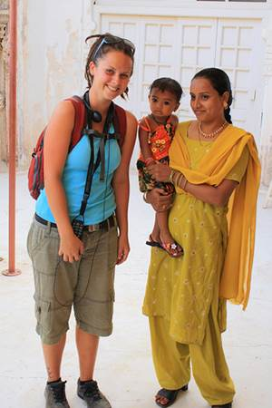 Tourist With Indian Locals