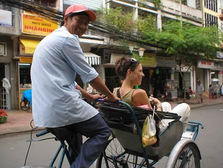 Vietnam Tourist on Cyclo Ride