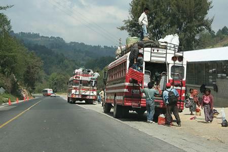 Guatemala Bus Loading