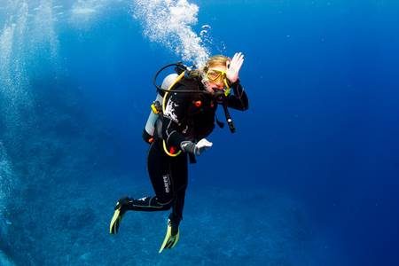 Woman Diver at Great Barrier Reef